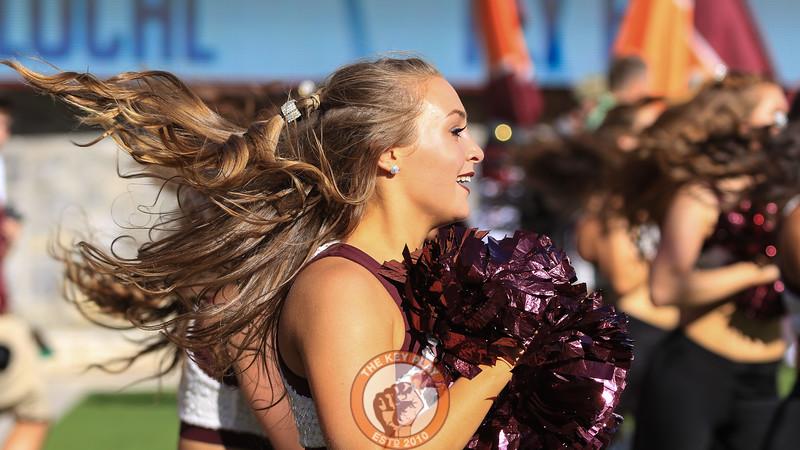 A Virginia Tech High Tech dances during a media timeout in the fourth quarter. (Mark Umansky/TheKeyPlay.com)