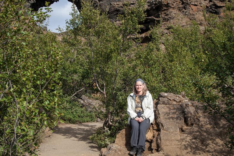Barb at the Dimmuborgir Lava formations