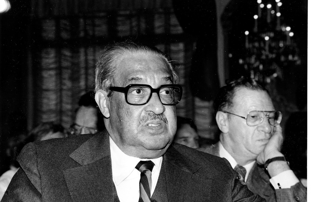 . Justice Thurgood Marshall of the United States Supreme Court is shown at the St. Regis Hotel in New York, October 27, 1977.  (AP Photo)