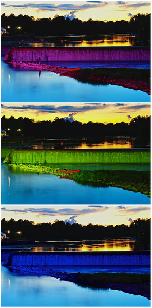 Lighted sequence on the hydroelectric power plant waterfalls on the Seneca River in Baldwinsville, New York.