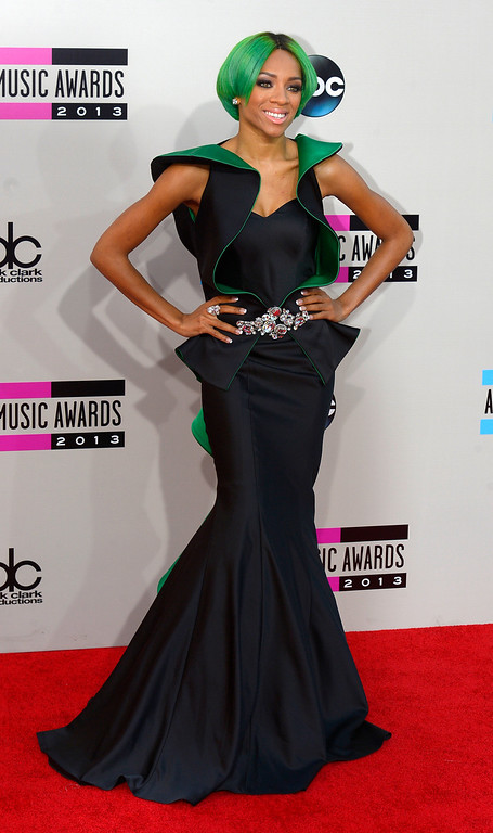. Lil\' Mam arrives to the American Music Awards  at the Nokia Theatre in Los Angeles, California on Sunday November 24, 2013 (Photo by Andy Holzman / Los Angeles Daily News)