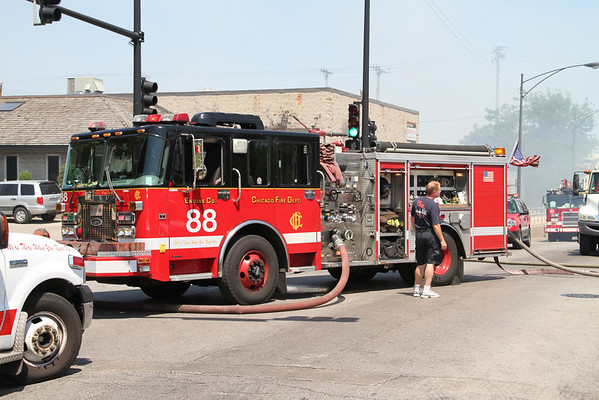 CHICAGO STILL & BOX ALARM 47th & KNOX FOR A FIRE IN A PALLET COMPANY YARD (06-27-2012)