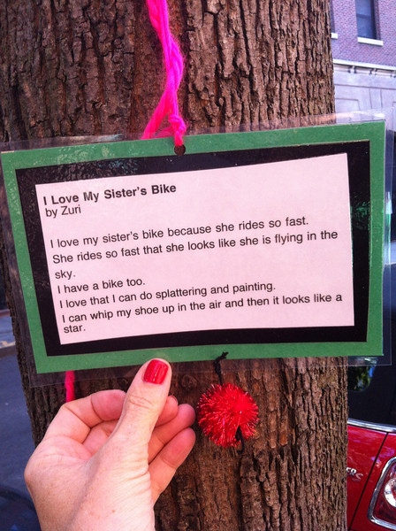 The week I was here in Brooklyn Heights there were poems from children who live in the neighborhood posted on the trees along the street.
