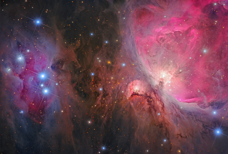 Interstellar Origins: The Great Orion Nebula and The Running Man