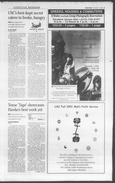 Daily Trojan, Vol. 144, No. 46, November 01, 2001