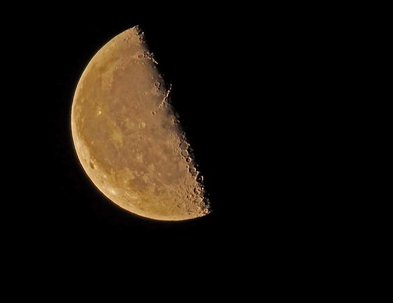 Half full moon with 1200mm zoom (Fujifilm FinePix S1)