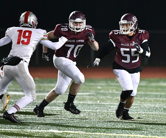 11/15/2019 Mike Orazzi rBristol Central's Dan Lauretti (70) and Dom Ford (55) during Friday night's football game with Conard High School at BC.