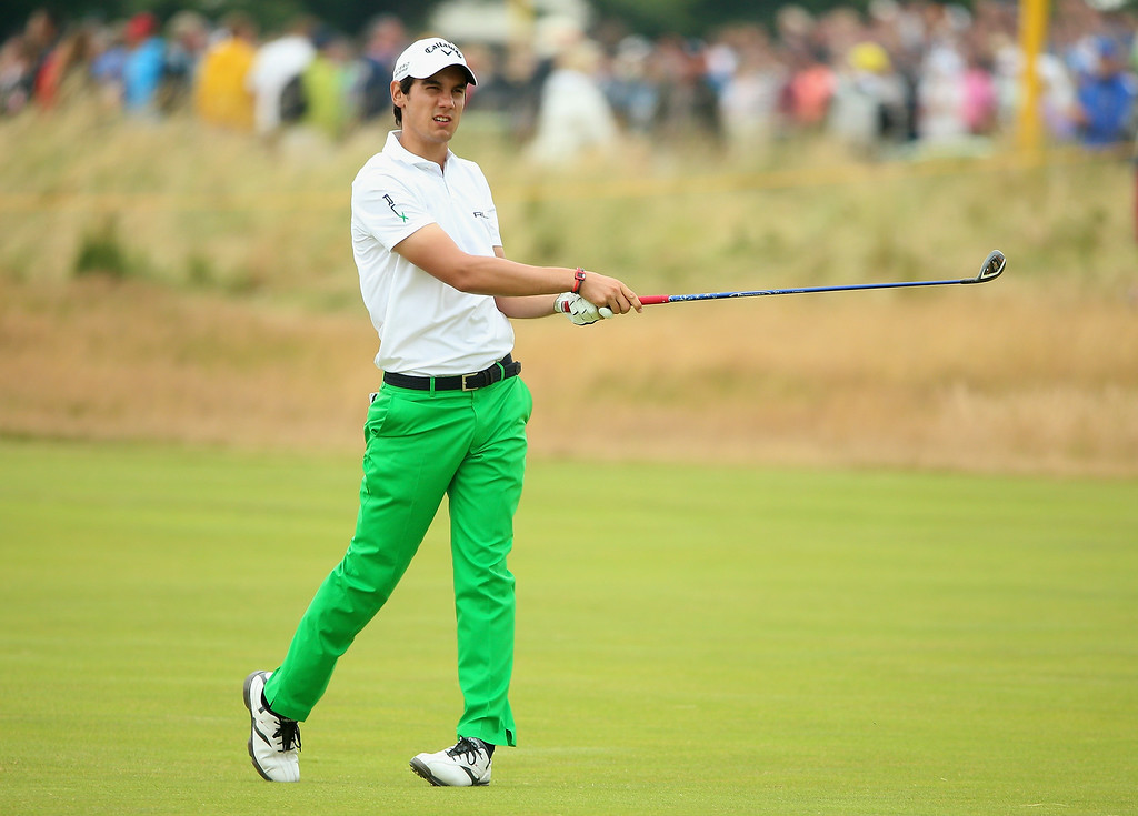 . Matteo Manassero of Italy hits his approach to the 16th hole during the final round of The 143rd Open Championship at Royal Liverpool on July 20, 2014 in Hoylake, England.  (Photo by Andrew Redington/Getty Images)