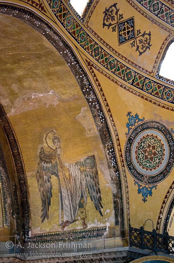 Archangel icon and Ottoman decorations, Aya Sofya, Istanbul.