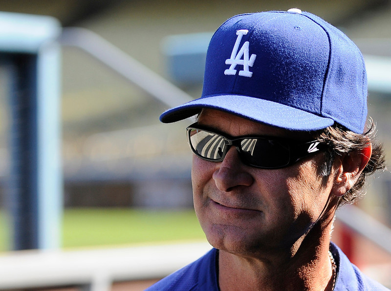 . Don Mattingly before the game. The Dodgers ended the season on a high note with a 5-1 victory over the San Francisco Giants at Dodger Stadium. Los Angeles,CA 10/3/2012(photos by John McCoy/Staff Photographer)