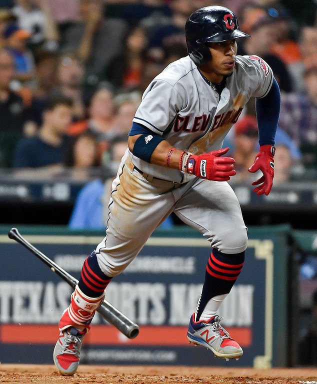 . Cleveland Indians\'Francisco Lindor runs to first during the third inning of a baseball game against the Houston Astros, Friday, May 19, 2017, in Houston. Lindor was safe on an error by Jose Altuve. (AP Photo/Eric Christian Smith)