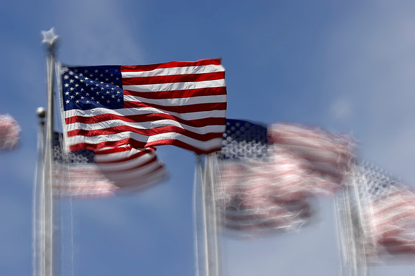 American Flags Waving