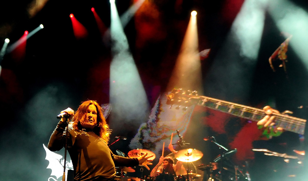 . Black Sabbath featuring vocalist Ozzy Osbourne along with guitarist Tony Lommi, bassist Geezer Butler and drummer Tommy Clufetos perform at the Verizon Wireless Amphitheatre on Wednesday, Aug. 28, 2013 in Irvine, Calif.   (Keith Birmingham/Pasadena Star-News)