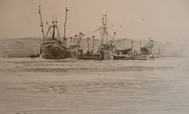Graphite pencil on paper.  11.5X7.5 Docked fishing boats at Cripple Cove, Gloucester
