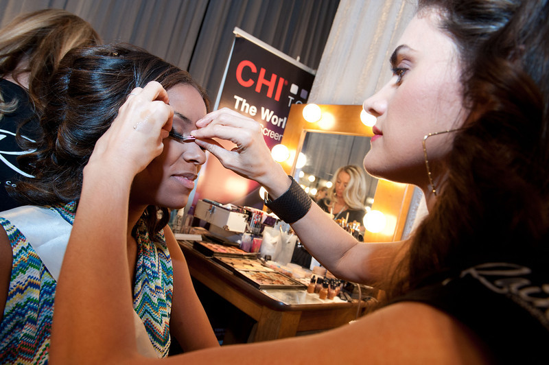 . This photo provided by the Miss Universe Organization,  Miss South Carolina USA 2013, Megan Pinckney gets her make up prepared  prior to the 2013 Miss USA Competition Preliminary Show  in Las Vegas  on Wednesday June 12, 2013.  She will compete for the title of Miss USA 2013 and the coveted Miss USA Diamond Nexus Crown on June 16, 2013.  (AP Photo/Miss Universe Organization, Valerie Macon)