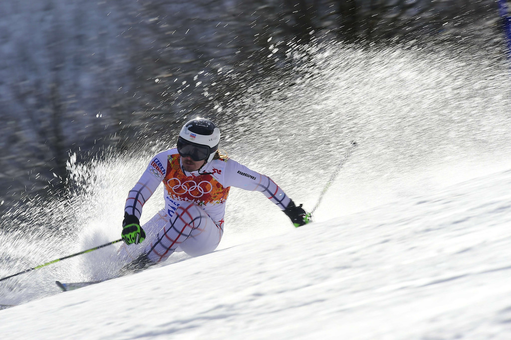 . Czech Republic\'s Ondrej Bank competes during the Men\'s Alpine Skiing Giant Slalom Run 2 at the Rosa Khutor Alpine Center during the Sochi Winter Olympics on February 19, 2014.     AFP PHOTO / FABRICE COFFRINI  /AFP/Getty Images