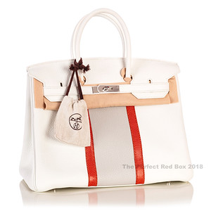 Hermes Birkin White Clemence Lizard Club 35cm NWOCTS - 1805250915