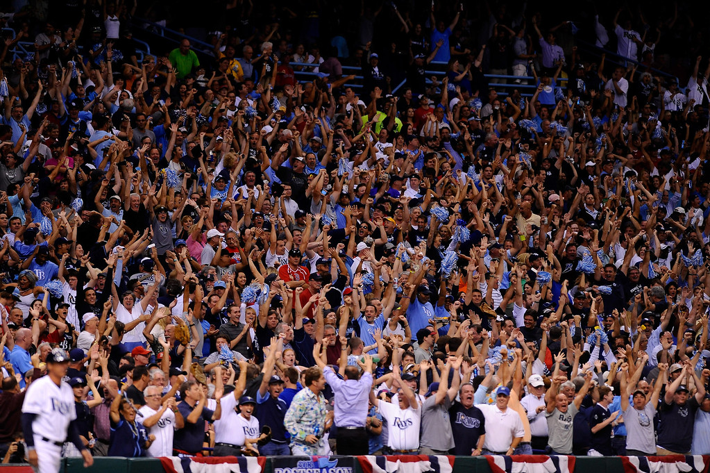 . The crowd reacts after a three-run home run by Evan Longoria #3 of the Tampa Bay Rays against the Boston Red Sox in the fifth inning during Game Three of the American League Division Series at Tropicana Field on October 7, 2013 in St Petersburg, Florida.  (Photo by Brian Blanco/Getty Images)