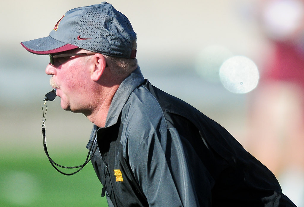 . Head coach Jerry Kill runs practice. (Pioneer Press: Ben Garvin)