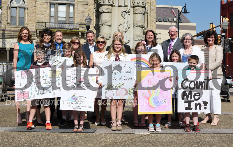 Harold Aughton/Butler Eagle: Winners and sponsors of the Count Me In! poster contest to promote the U.S. Census sponsored by the county commissioners and the Butler Eagle.