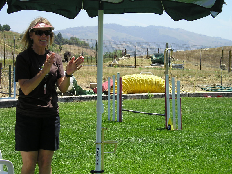 Our intrepid instructor, Nancy, applauding another fine run.