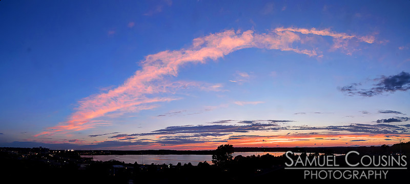 Pink clouds just after sunset. Looking over Back Cove in Portland, Maine.