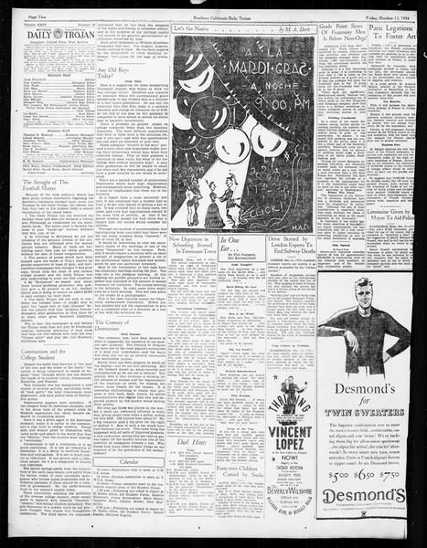 Daily Trojan, Vol. 26, No. 16, October 12, 1934