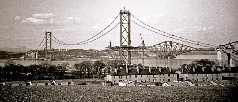 Forth Road Bridge under construction.  Spring/summer 1962