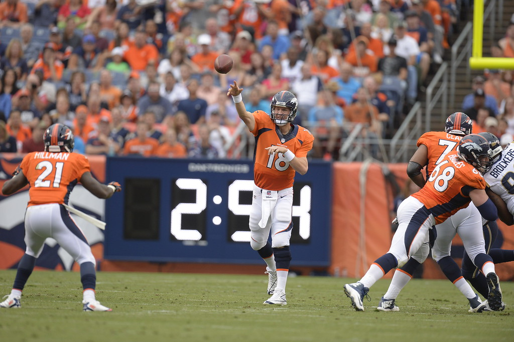 . DENVER, CO. - AUGUST 17: Denver Broncos quarterback Peyton Manning (18) throws a pass to Denver Broncos running back Ronnie Hillman (21) during the first quarter August 24, 2013 at Sports Authority Field at Mile High. (Photo By John Leyba/The Denver Post)