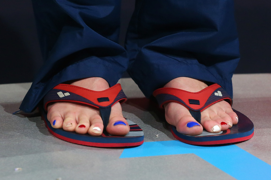 . BARCELONA, SPAIN - AUGUST 03: A detail shot of the painted toenails of Missy Franklin of the USA as she waits on the podium after the Swimming Women\'s Backstroke 200m Final on day fifteen of the 15th FINA World Championships at Palau Sant Jordi on August 3, 2013 in Barcelona, Spain.  (Photo by Alexander Hassenstein/Getty Images)