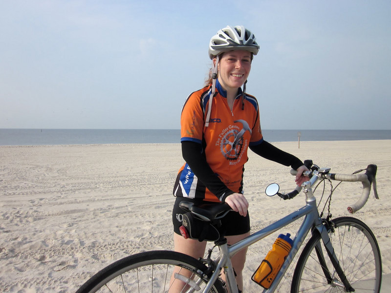 2010 08-03 Becky Acton of Americus, GA is happy to have the sea, white sand and wind at her back.    ky