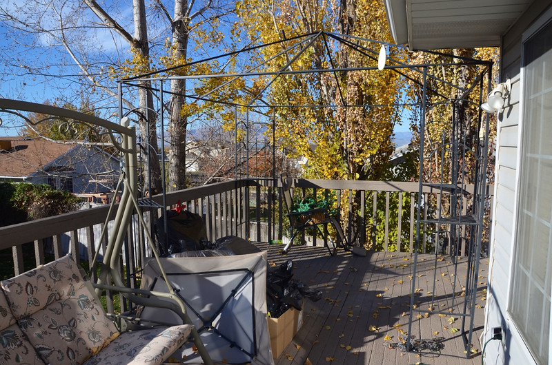 2012-11-8 ––– We have a big snow storm coming so we had to take down the deck furniture and the cabana. Sad to see it go because it signals the end of summer.
