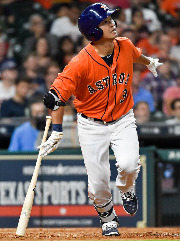 . Houston Astros\' Norichika Aoki watches his fly-out during the seventh inning of a baseball game against the Cleveland Indians, Friday, May 19, 2017, in Houston. (AP Photo/Eric Christian Smith)