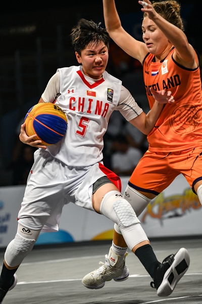 France and China in action in the semi-final of the International 3x3 Basketball Tournament during the 1st ANOC World Beach Games at Katara on October 16, 2019 in Doha, Qatar. Photo by Tom Kirkwood/SportDXB