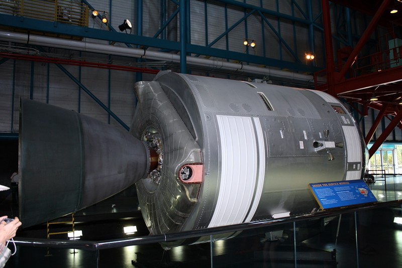 A replica of the Service Module of the Saturn V rocket