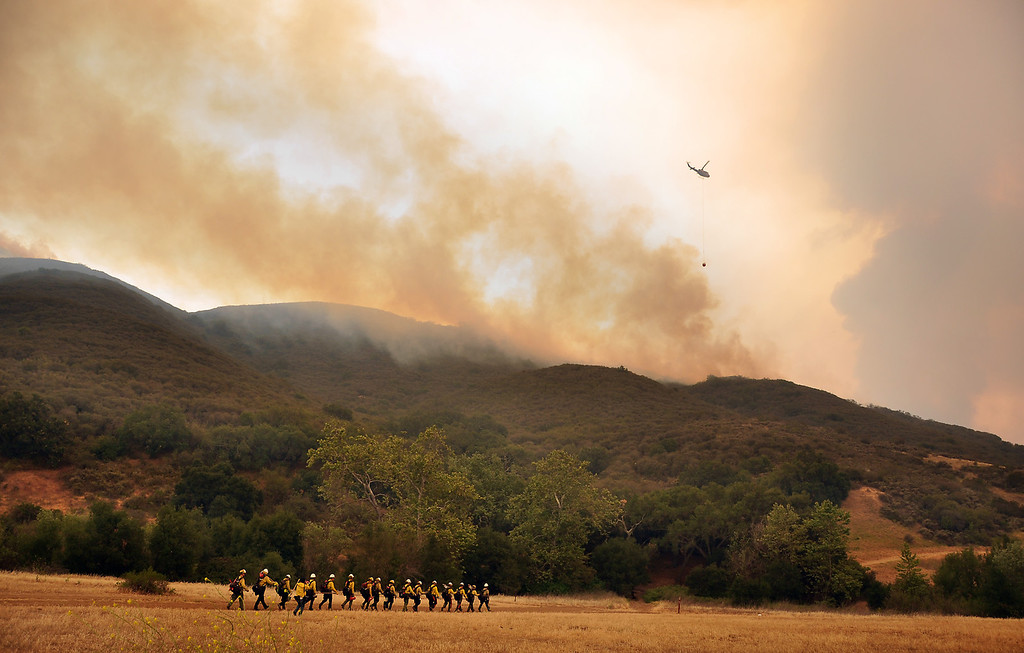 . Forestry firemen at Satwiwa National Park in Newbury Park. A wildfire has burned over 10,000 acres.  Friday, May 3, 2013,   Tina Burch/Special to the Daily News
