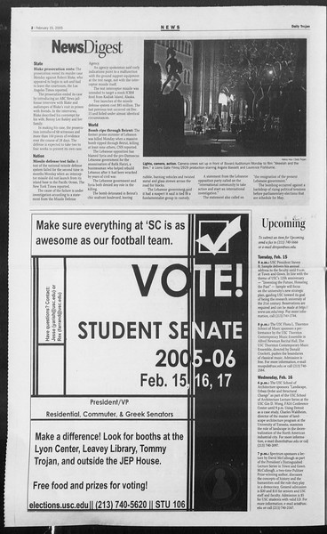 Daily Trojan, Vol. 154, No. 24, February 15, 2005