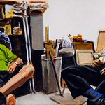 Untitled (two men), acrylic on canvas, 18 x 36, 2020
