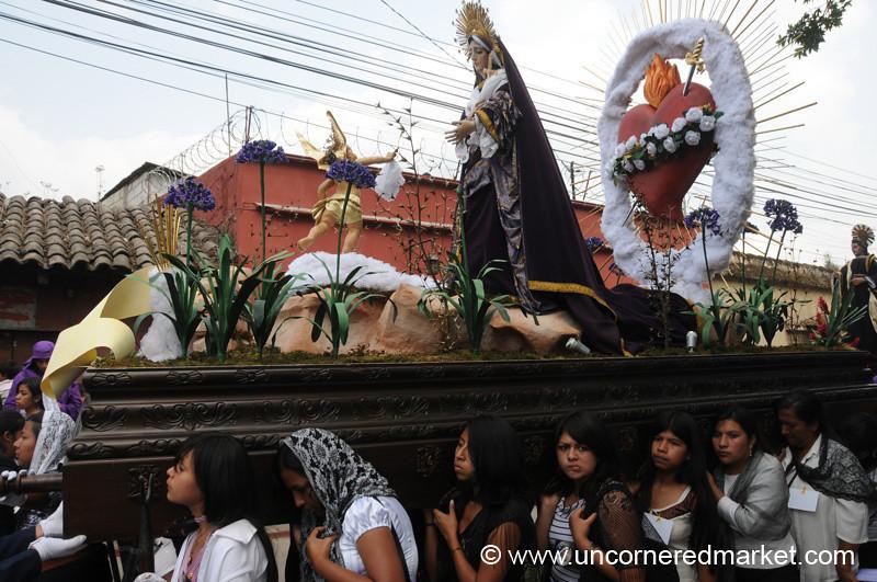 Semana Santa Women Carrying Float - Antigua, Guatemala