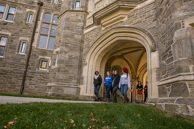 Students at Rockefeller Arch