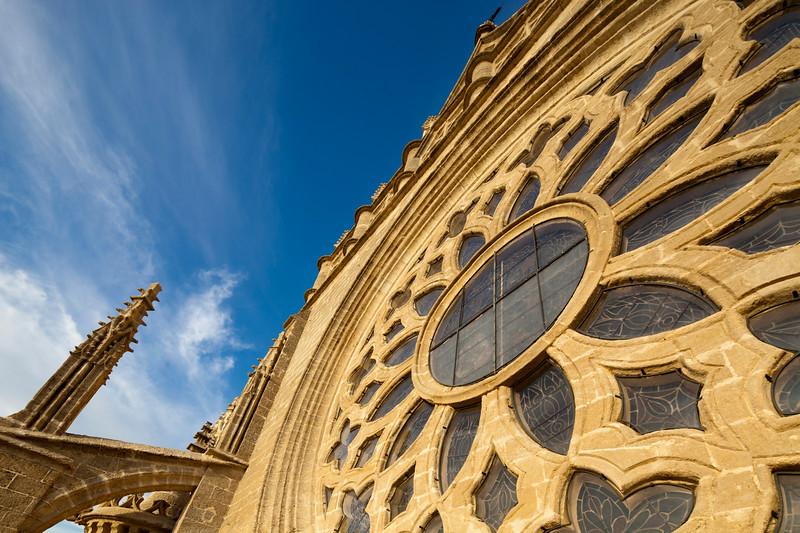 Detial of the rose window on the facade of Santa Maria de la Sede Cathedral, Seville, Spain