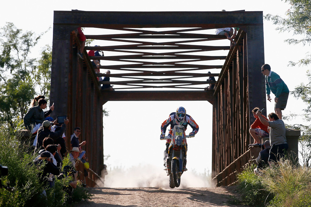 . VILLA CARLOS PAZ, ARGENTINA - JANUARY 04:  #1 Marc Coma of Spain and riding the for the Red Bull KTM Factory Team competes during day 1 of the Dakar Rallly on January 4, 2015 between Buenos Aires and Villa Carlos Paz, Argentina.  (Photo by Dean Mouhtaropoulos/Getty Images)