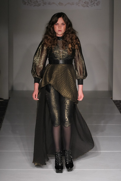 Model walks runway in an outfit from the Janelle Funari Spring Summer 2017 collection at Fashion Gallery New York Fashion Week Spring Summer 2017 on September 10, 2016