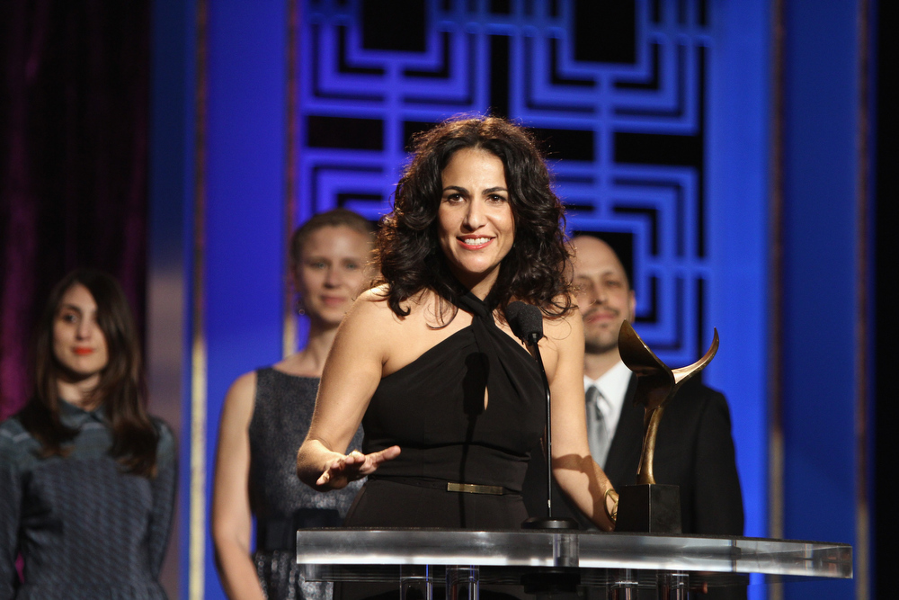 Description of . Writer Jennifer Konner accepts the Writers Guild Award for Outstanding New Series onstage during the 2013 WGAw Writers Guild Awards at JW Marriott Los Angeles at L.A. LIVE on February 17, 2013 in Los Angeles, California.  (Photo by Maury Phillips/Getty Images for WGAw)