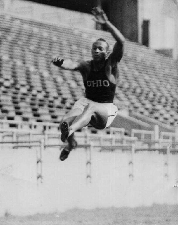 . Jesse Owens doing the long jump at Ohio Stadium in 1935. Photo Courtesy Nancy Mate