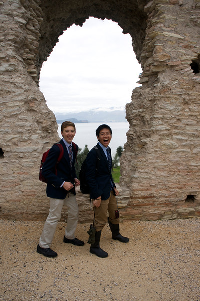 Nick and Ryan posing in front of the Roman ruins