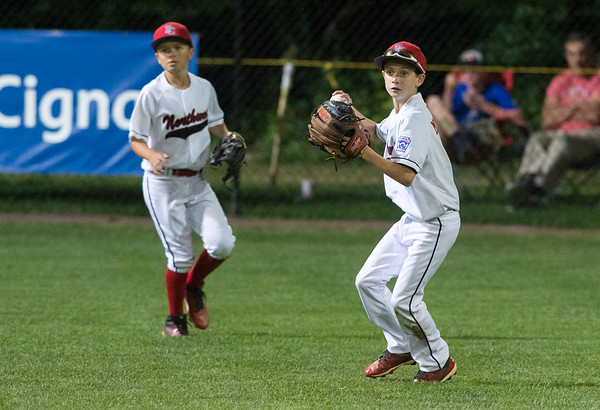 08/09/19 Wesley Bunnell | Staff New Jersey defeated Washington, DC on Friday August 9, 2019 in a Little League Baseball Eastern Regional Tournament game with New Jersey heading to the final on Saturday to face New York. John McMurray (3) with a catch in right field.