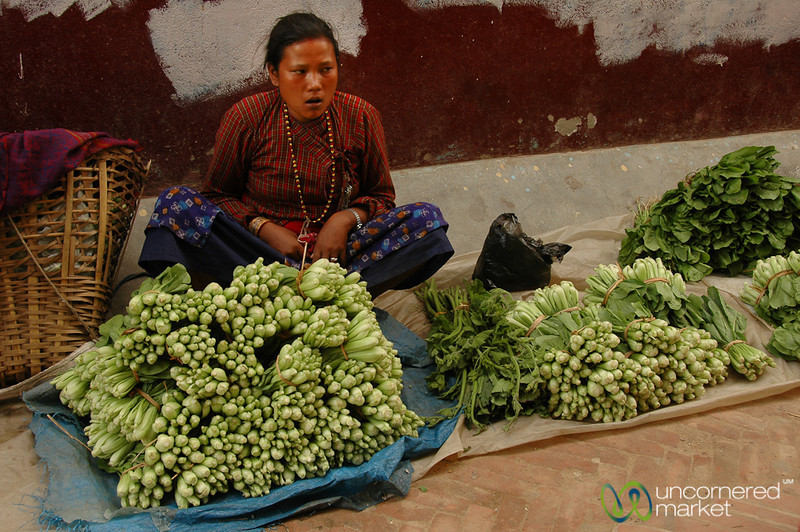 Greens on the Street - Bodhnath, Nepal