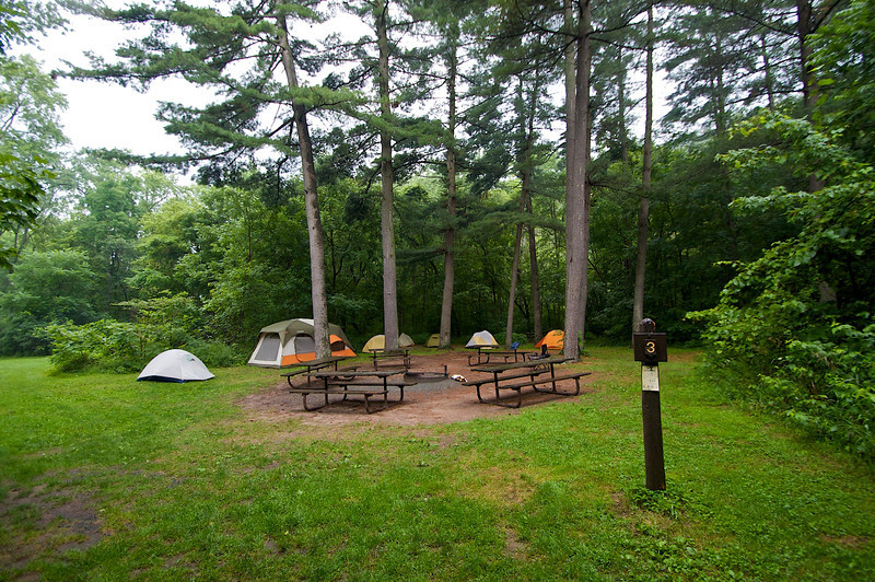 The Rover group campsite at Interstate State Park MN, a Rover trip, Wannigan Days July 20 & 21 2012.