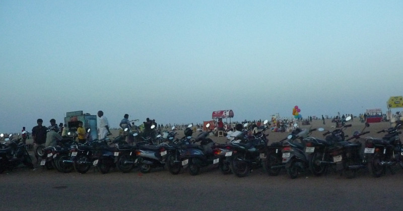 2 wheelers parked along Marina Beach.  This beach was struck by the 2004 Tsunami.  I've read that about 250+ people were killed.